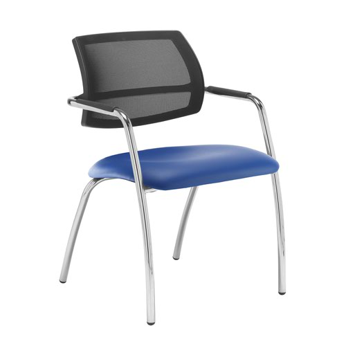 Tuba chrome 4 leg frame conference chair with half mesh back - Ocean Blue vinyl