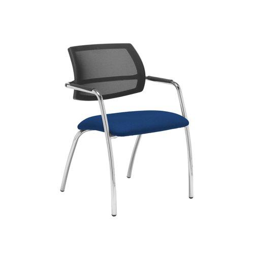 Tuba chrome 4 leg frame conference chair with half mesh back - Curacao Blue