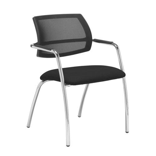 Tuba chrome 4 leg frame conference chair with half mesh back - Havana Black