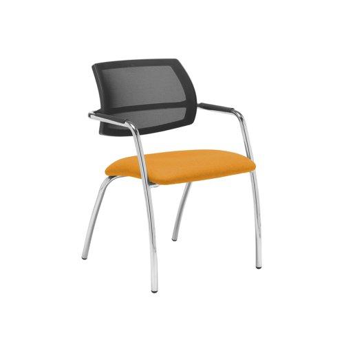 Tuba chrome 4 leg frame conference chair with half mesh back - Solano Yellow