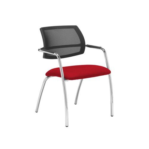 Tuba chrome 4 leg frame conference chair with half mesh back - Panama Red