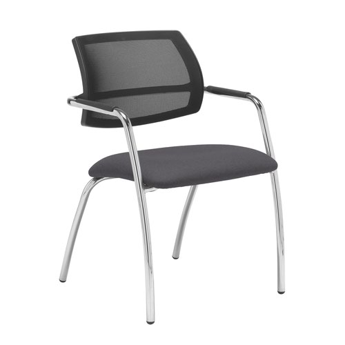 Tuba chrome 4 leg frame conference chair with half mesh back - Blizzard Grey