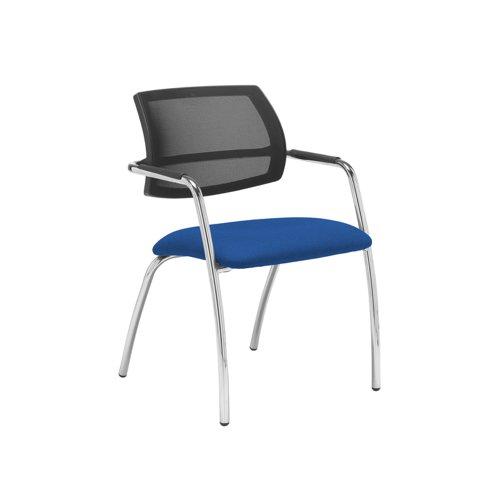 Tuba chrome 4 leg frame conference chair with half mesh back - Scuba Blue