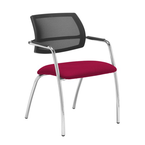 Tuba chrome 4 leg frame conference chair with half mesh back - Diablo Pink