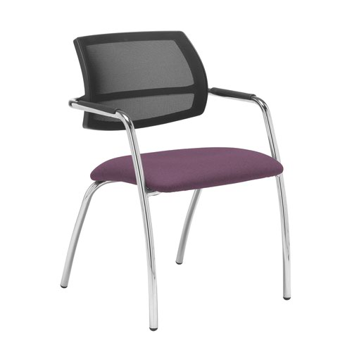 Tuba chrome 4 leg frame conference chair with half mesh back - Bridgetown Purple