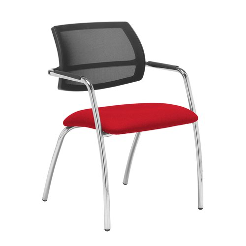 Tuba chrome 4 leg frame conference chair with half mesh back - Belize Red
