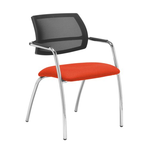 Tuba chrome 4 leg frame conference chair with half mesh back - Tortuga Orange