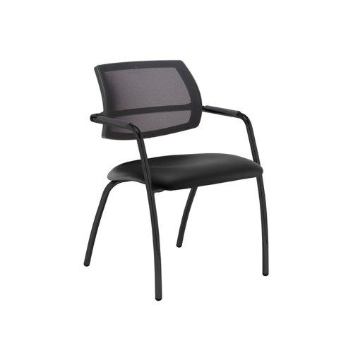 Tuba black 4 leg frame conference chair with half mesh back - Nero Black vinyl