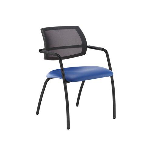 Tuba black 4 leg frame conference chair with half mesh back - Ocean Blue vinyl