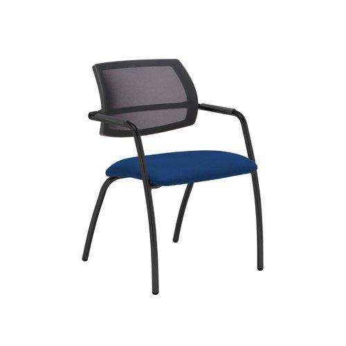 Tuba black 4 leg frame conference chair with half mesh back - Curacao Blue