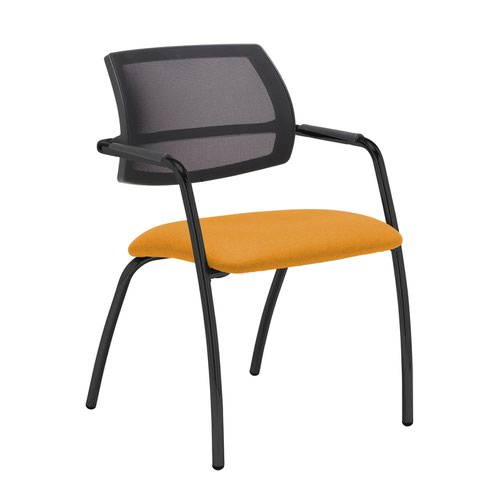 Tuba black 4 leg frame conference chair with half mesh back - Solano Yellow