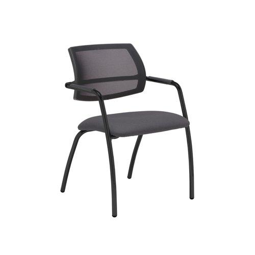 Tuba black 4 leg frame conference chair with half mesh back - Blizzard Grey