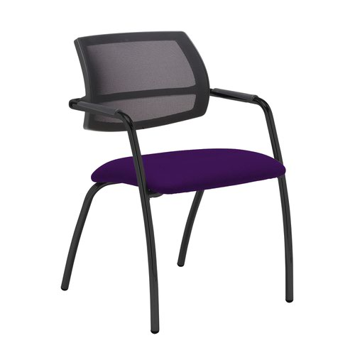 Tuba black 4 leg frame conference chair with half mesh back - Tarot Purple