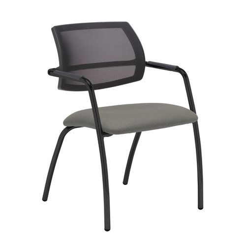 Tuba black 4 leg frame conference chair with half mesh back - Slip Grey