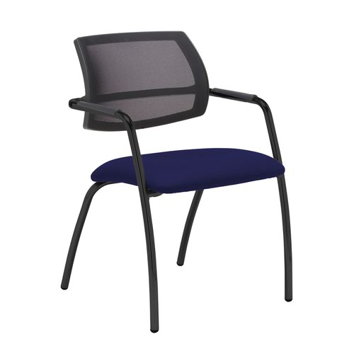 Tuba black 4 leg frame conference chair with half mesh back - Ocean Blue