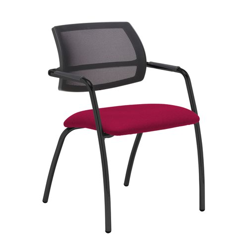 Tuba black 4 leg frame conference chair with half mesh back - Diablo Pink