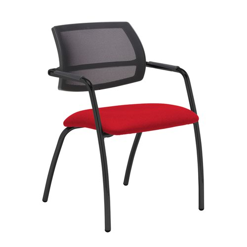 Tuba black 4 leg frame conference chair with half mesh back - Belize Red