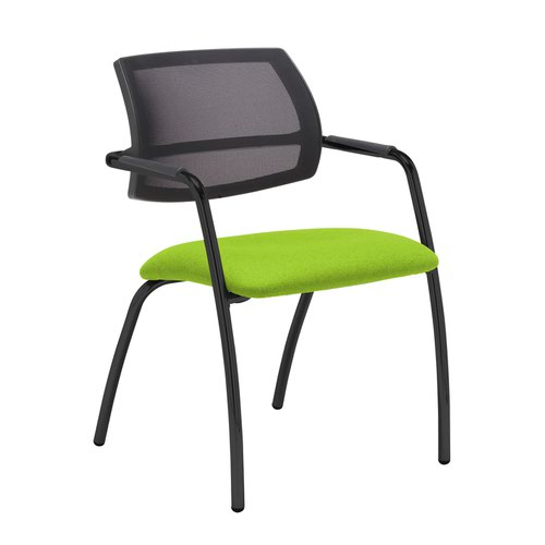 Tuba black 4 leg frame conference chair with half mesh back - Madura Green