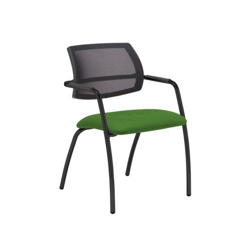 Tuba black 4 leg frame conference chair with half mesh back - Lombok Green
