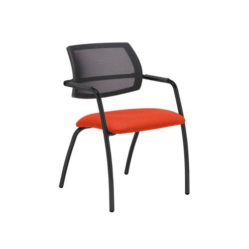 Tuba black 4 leg frame conference chair with half mesh back - Tortuga Orange