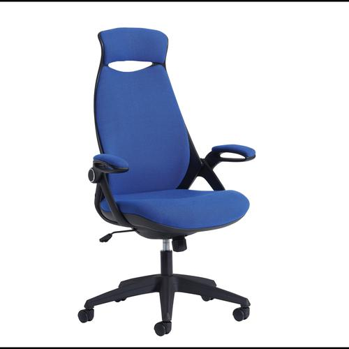 Tuscan high back fabric managers chair with head support - blue