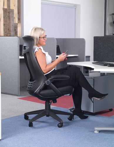 Tuscan high back fabric managers chair with head support - blue Office Chairs TUS300T1-B
