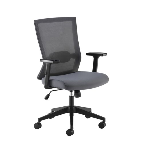 Travis grey mesh back operator chair with grey fabric seat and black base