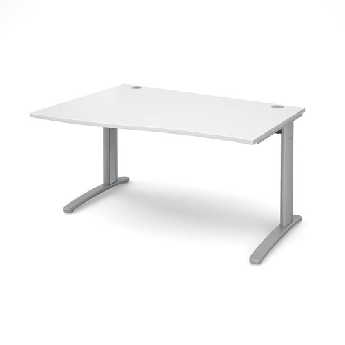 TR10 left hand wave desk 1400mm - silver frame and white top