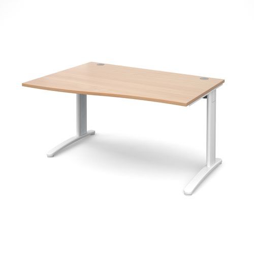 TR10 left hand wave desk 1400mm - white frame and beech top