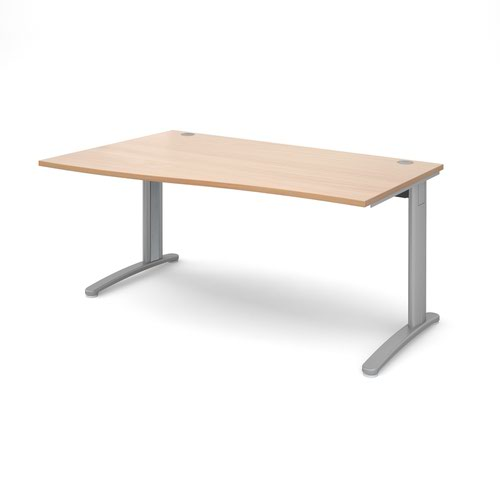 TR10 left hand wave desk 1600mm - silver frame and beech top
