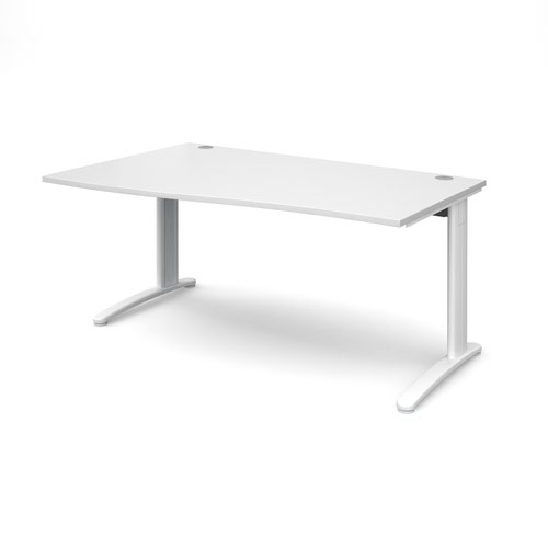 TR10 left hand wave desk 1600mm - white frame and white top