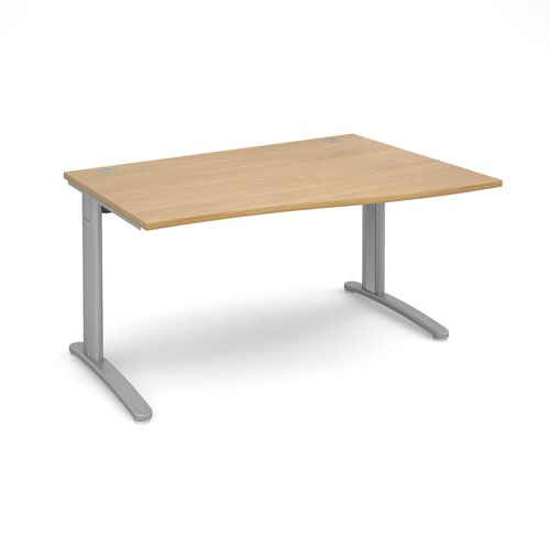 TR10 right hand wave desk 1400mm - silver frame and oak top
