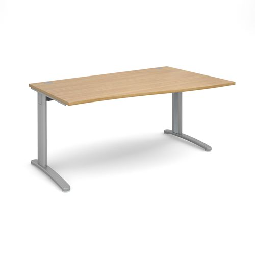 TR10 right hand wave desk 1600mm - silver frame and oak top