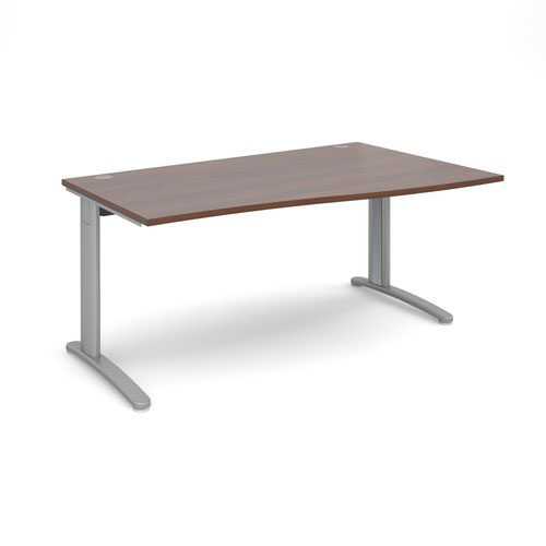 TR10 right hand wave desk 1600mm - silver frame and walnut top