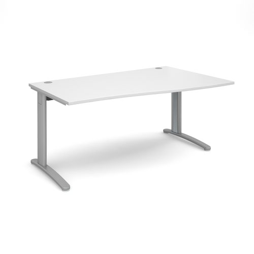 TR10 right hand wave desk 1600mm - silver frame and white top