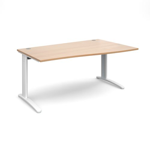 TR10 right hand wave desk 1600mm - white frame and beech top