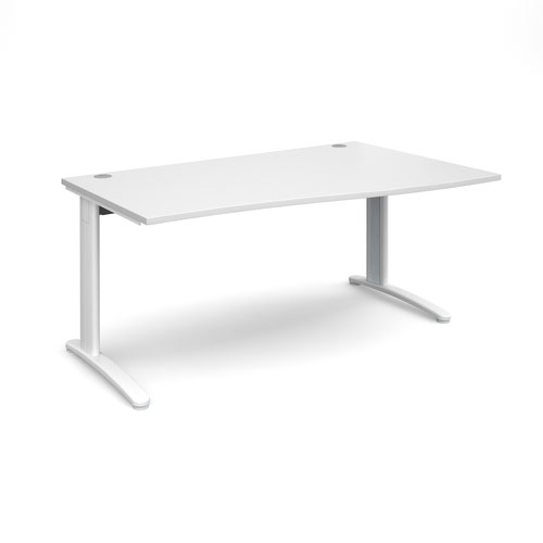 TR10 right hand wave desk 1600mm - white frame and white top