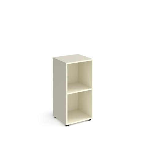 Universal cube storage unit 950mm high with 2 open boxes and glides - white