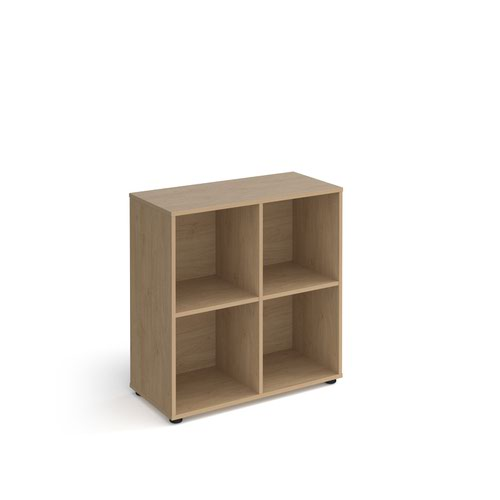 Universal cube storage unit 875mm high with 4 open boxes and glides - oak