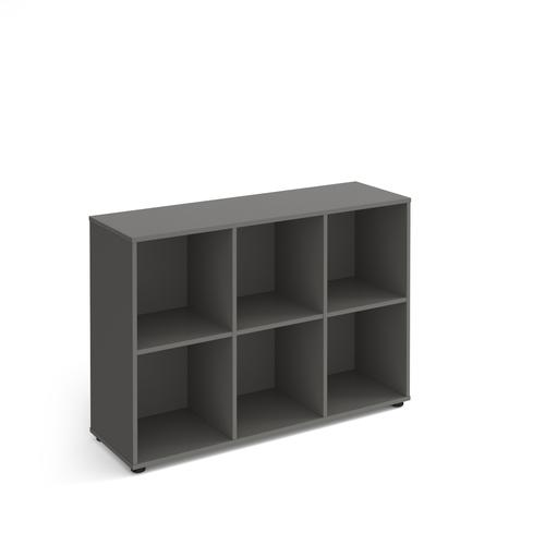 Universal cube storage unit 950mm high with 6 open boxes and glides - grey