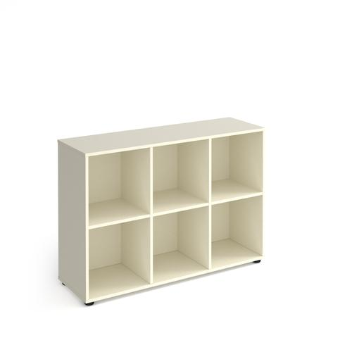 Universal cube storage unit 875mm high with 6 open boxes and glides - white