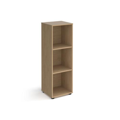 Universal cube storage unit 1295mm high with 3 open boxes and glides - oak