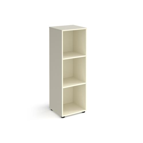Universal cube storage unit 1295mm high with 3 open boxes and glides - white
