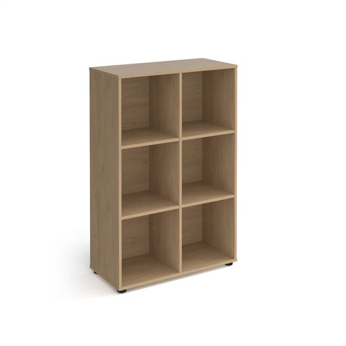 Universal cube storage unit 1295mm high with 6 open boxes and glides - oak