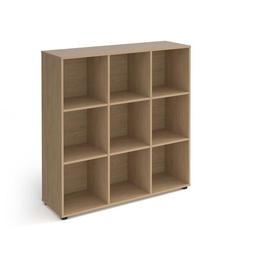 Universal cube storage unit 1295mm high with 9 open boxes and glides - oak