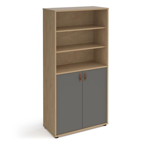 Universal combination unit with open top 1715mm high with shelves - oak with grey doors