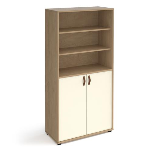 Universal combination unit with open top 1715mm high with shelves - oak with white doors