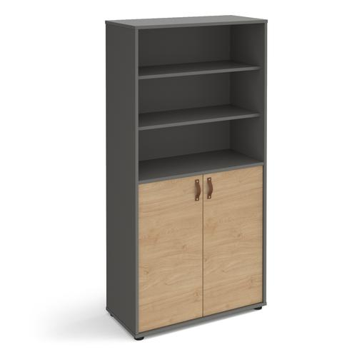 Universal combination unit with open top 1715mm high with shelves - grey with oak doors