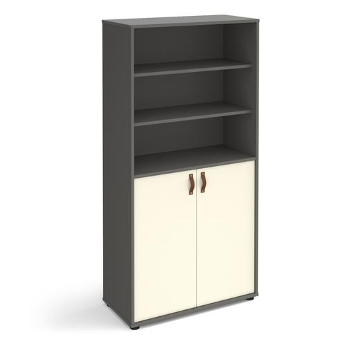 Universal combination unit with open top 1715mm high with shelves - grey with white doors