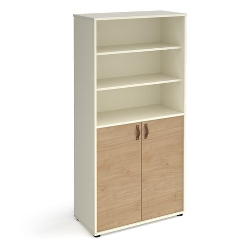 Universal combination unit with open top 1715mm high with shelves - white with oak doors